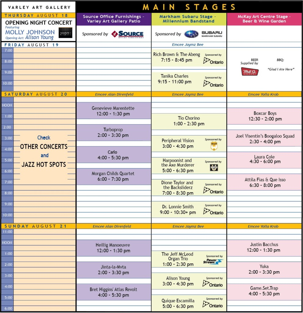 Markham Jazz Festival Schedule of Events 2016