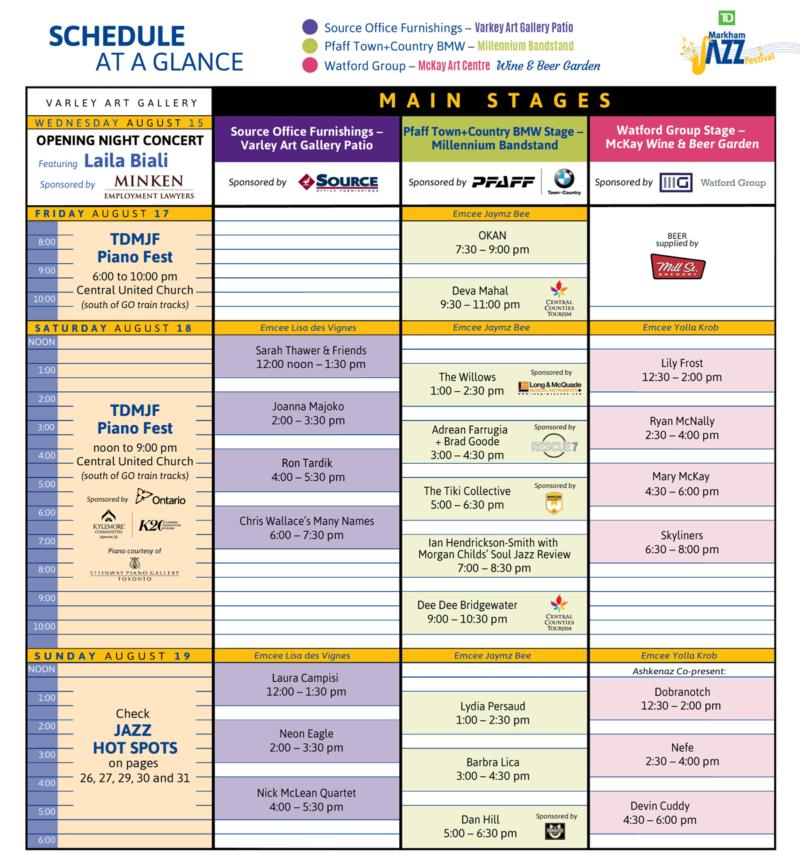 Markham Jazz Festival 2018 Schedule of Events