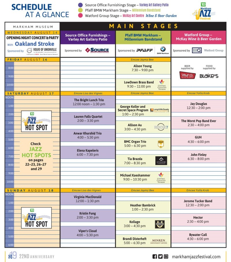 Markham Jazz Festival 2018 Schedule of Events